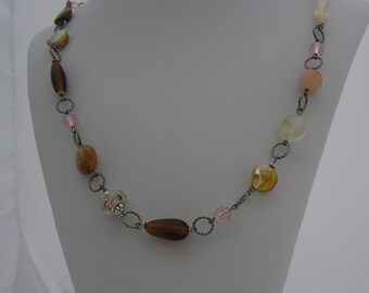 Beaded Glass and Stone Necklace