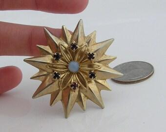 Vintage Gold Tone Brooch with Rhinestones