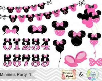 Digital Minnie Clipart Minnie Clip Art Pink Minnie Birthday Party Clip Art Pink Minnie Numbers Clip Art Minnie Balloon Minnie Banner  0173