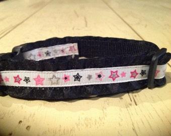 5/8 Wide  8-12 Adjustable Pink Black & Silver Stars Ruffled Dog Collar