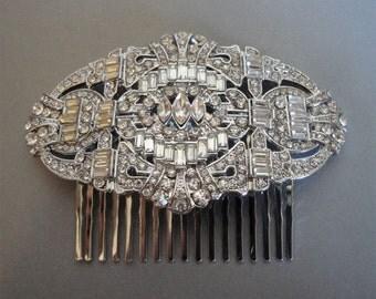 Bridal Hair Comb Art Deco Rhinestone Hair Accessories vintage style bridal veil wedding head piece silver