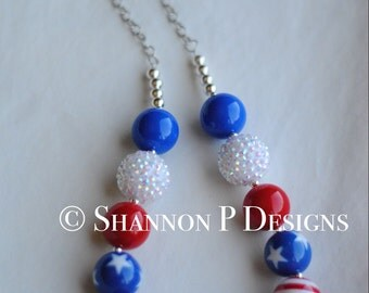 Adult and kid size Fourth of July chunky beaded necklace/ Red, white and Blue Necklace/ Memorial Day necklace / July 4th necklace
