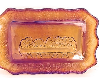 Indiana Glass Tiara Last Supper bread tray