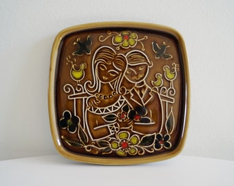 Wall Plaque Art Pottery Sweetheart Decorative Plaque Norwegian Pottery Wedding Gift Engagement Gift