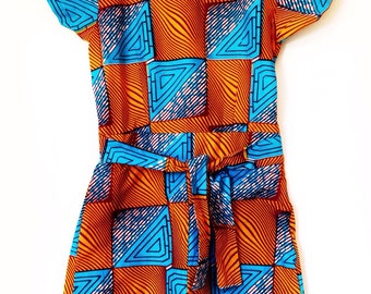 Philomina African Playsuit - Blue and orange square