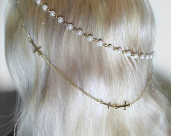 dainty pearl and cross chain headpiece