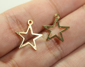 20 pcs, Star Copper Pendant Connector Charm, 18K Gold Plated, 15x13mm, CZ-002