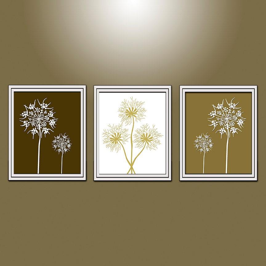 Gold bathroom wall decor : Dandelion wall art gold bedroom bathroom