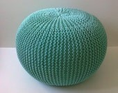 knitted pouf, seat, home interior, living room,ottoman,footstool, bedroom,mint, knitting pouf, crochet pouf, handmade,  cotton cord,