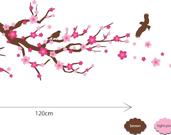 Cherry Blossom Branch Wall Decals Cherry Blossom Branch Wall Stickers Girls Bedroom Wall Decals Fabric Nursery Wall Stickers