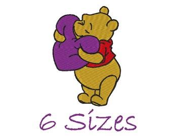 Winnie Pooh Stitch Embroidery design. (6 Sizes)