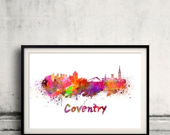 Coventry skyline in watercolor over white background with name of city 8x10 in. to 12x16 in. Poster Wall art Illustration Print  - SKU 0373
