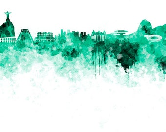 Rio De Janeiro Skyline In Watercolor On White 8 Monochrome Colors And Full Color