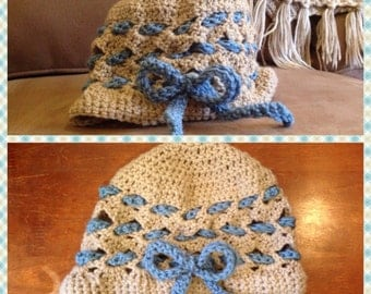 Hat with a bow, Hat, Winter hat, Crocheted Hat, Womans hat, Bow hat, Womans Beanie, Winter Beanie
