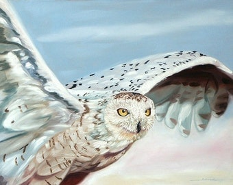 Original oil painting, snow owl, sky, tundra, arctic, bird, wildlife, raptor