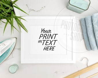 Styled Stock Photography / Print Background / Blank Frame / Product Photography / Staged Photography / Blue Towels Iron / Laundry / LR011