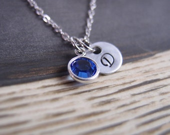personalized september birthstone necklace, initial necklace, Swarovski Drop necklace, sapphire necklace, custom necklace, mothers