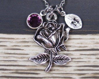 initial necklace, rose flower necklace, birthstone necklace, long necklace option, silver rose charm on silver plated chainn, romantic gift