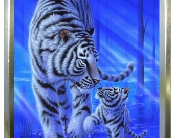 Blue tiger 2oz gold tobacco tin,pill box,storage tin