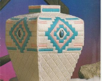 Aztec/Southwestern Vase in Plastic Canvas