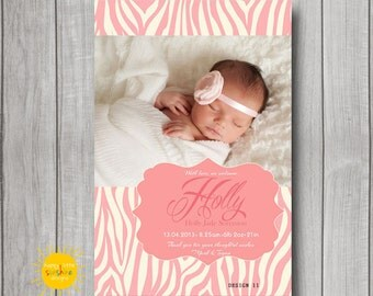 Personalised Girl Announcement Photo Printable Pink Zebra Background
