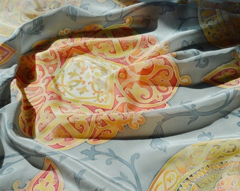 Silk Batik shawl Treasure of Kyiv Rus.Hand painted Silk. Women's silk square scarf.Gray,Light-Blue,Old Gold,Red.Exclusive Gift.Made to order