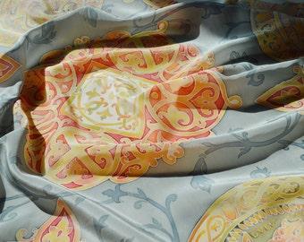 "Silk Batik shawl Treasure of Kyiv Rus.Hand painted Silk. Платок ""Наследие"". Шелк, роспись, авторский батик."