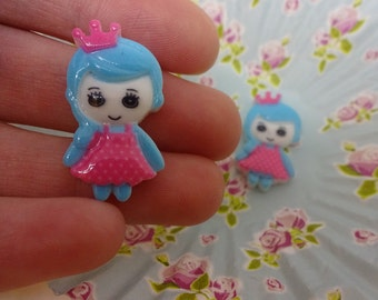 Kawaii blue princess cabochon set of 7 cartoon girls embellishments 27x15mm resin cabochon flatback scrapbook embellishment DIY phone