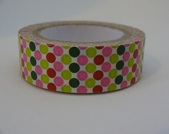 Washi masking polka dots tape green pink 10 m/11 yards crafting tape decorative washi tape cardmaking tape scrapbook tape summer washi tape