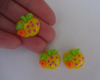 3 yellow apples food resin flatback decoden cabochons 16x17mm Kawaii embellishments scrapbook DIY phone hairbow centre clip pin