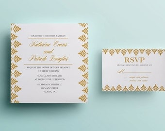 Gold glitter wedding invitation template white wedding invitation design printable wedding invitation instant download navy and gold leaf