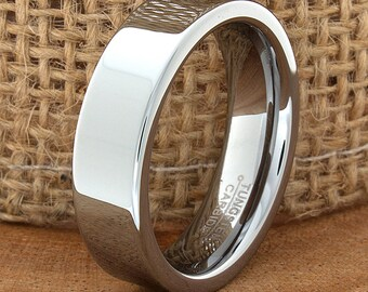 Tungsten Wedding Band Flat High Polished Customized Tungsten Band Any Design Laser Engraved Ring Mens Tungsten Ring Anniversary Ring Band