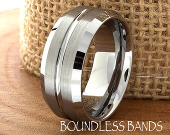 Tungsten Wedding Band Grooved Satin Finish Beveled Edges 9mm Tungsten Ring Mens Womens Anniversary Ring Custom Laser Engraving New Design