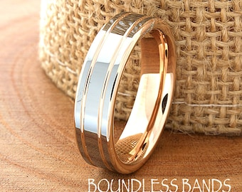 Rose Gold Wedding Band Ring 6mm 18K Two Tone Man Wedding Band Male Women Custom Laser Engraving Anniversary Handmade Double Grooved New Mens