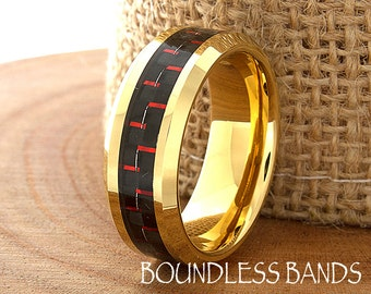 Tungsten Wedding Ring Yellow Gold 18k Mens Wedding Band Custom Laser Engraved Ring His Red Fiber New Design 8mm Unique Rings  Modern Fashion