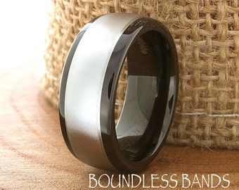Two Tone Wedding Band Tungsten Ring Customized Any Design Laser Engraved Mens Black Dome New Modern Classic Mens Band 8mm Fashion Mens Woman