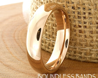 Rose Gold Wedding Band Tungsten Dom High Polished Modern Classic Band Design Laser Engraved Ring Mens Anniversary Band Rose Gold Plated New