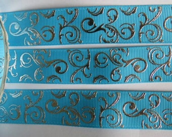"2 Metres of 7/8"" Grossgrain Ribbon - Silver Swirls on Blue - for Craft"