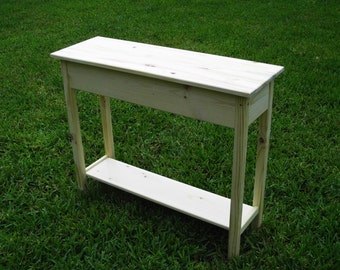 "Unfinished Pine Console, Sofa, Wall Table With Shelf-36"" long x 11.25"" deep x 30"" tall"
