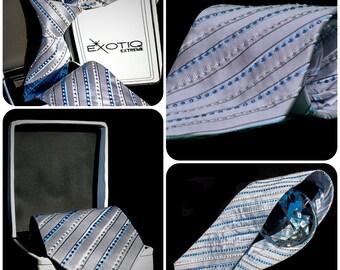 Grey Rhinestone Italian Silk Tie in Faux Leather Box