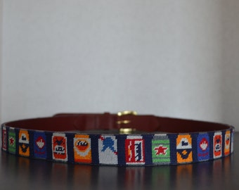 Beer Can Needlepoint Belt (Great Christmas Gift)