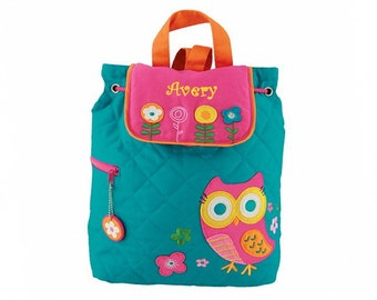 Personalized Teal Owl Embroidered Backpack