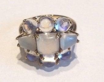 Vintage 14k White Gold Moonstone Ring