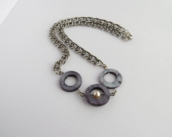 Gray River Shell Circles and Pewter Chain Necklace