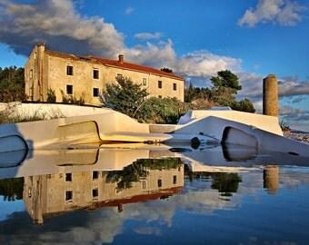 Reflection, Landscape Photography, Seaside Photo, Novalja, Island Pag, Croatia, Wall Art Decor, Travel Photography, Water, Photo,Sunset,Blue