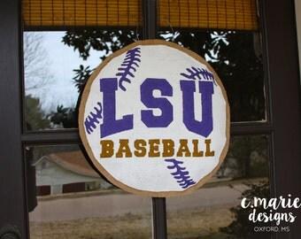 LSU Baseball Burlap Door Hanger