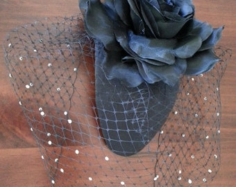 Black Birdcage Veil Headpiece Fascinator