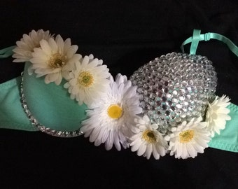 Teal and white Daisy rave bra