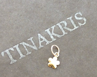 14k solid gold flower charm