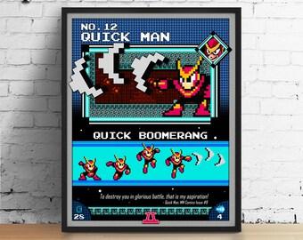 Mega Man poster, Nintendo art, video game poster, classic game print, pixel art, Quick Man, kids room poster, game room art
